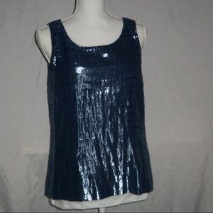 J. Crew Blue Metallic Tank with side zip